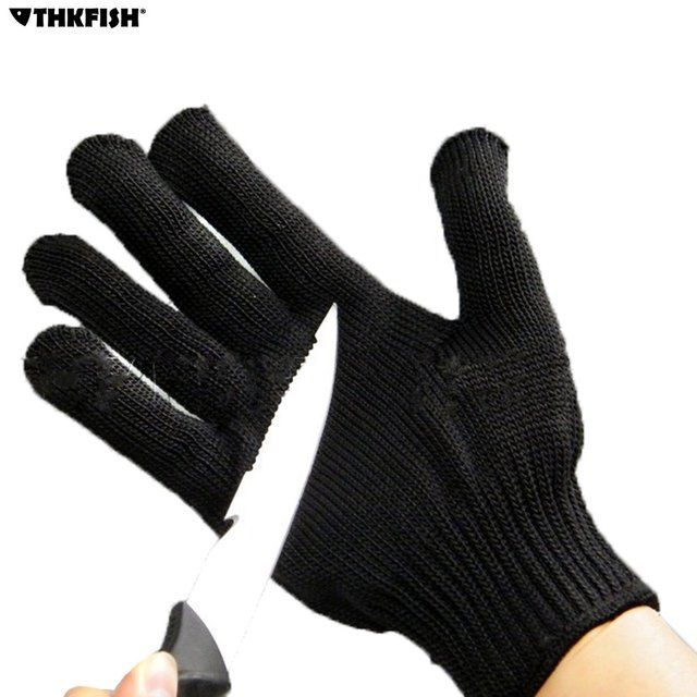 THKFISH Anti-cut Anti-slip Fishing Gloves Cut Resistant Protective Knife Anti-cutting Full Finger Gloves Outdoor Mesh Glove