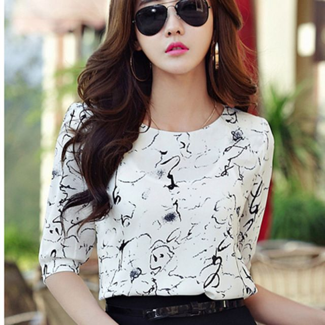 2018 Summer Lady Fashion Chiffon Shirts Size S-3XL Half Sleeve Pink Clothing Women Casual White Blouses