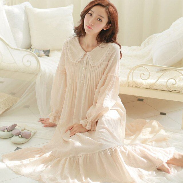 Free Shipping Pure Cotton Princess White Long Pyjamas  women nightwear Ladies pijamas femininos