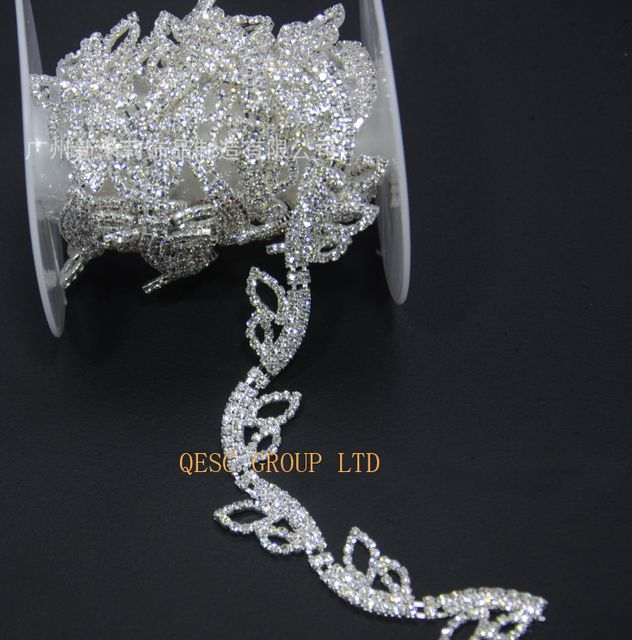 Rhinestone band rhinestone leaves DIY fascinator crown Wedding necklace hair ornament evening bag dress shoes.