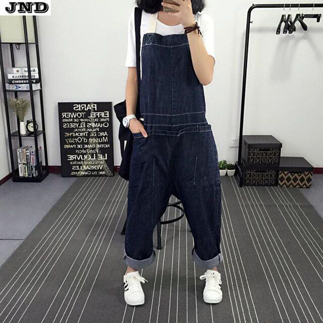 Free Shipping 2016 New Fashion Ladies Overalls Harem Pants Deep Blue Denim Jeans Loose Jumpsuits And Rompers Plus Size M-L