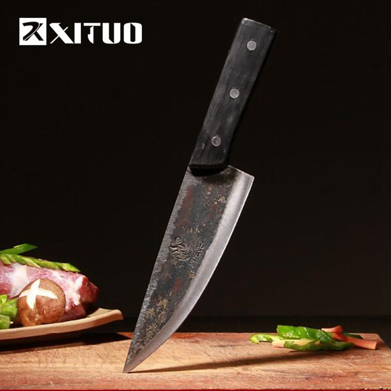 XITUO EDC Utility kitchen knife Very sharp Tungsten steel clamp steel Handmade knife 29cm Rosewood Meat Slicing chef knife tools