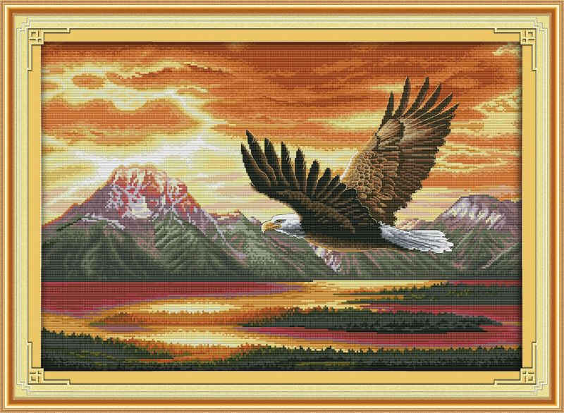 The flying eagle Counted Cross Stitch 11CT Printed 14CT Cross Stitch DIY Chinese Cotton Cross-stitch Kit Embroidery Needlework