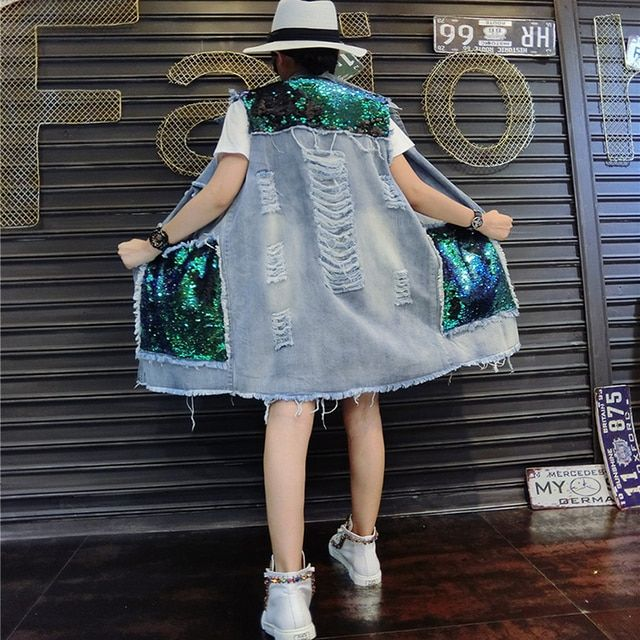 2016 new Korean fashion sequined hole to do the old denim vest jacket and long sections