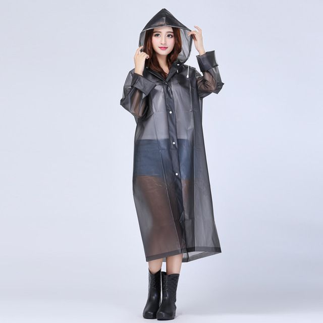 Fashion Women Outdoor Travel Waterproof Riding Clothes Raincoat Poncho Hooded Knee Length Rainwear U0799
