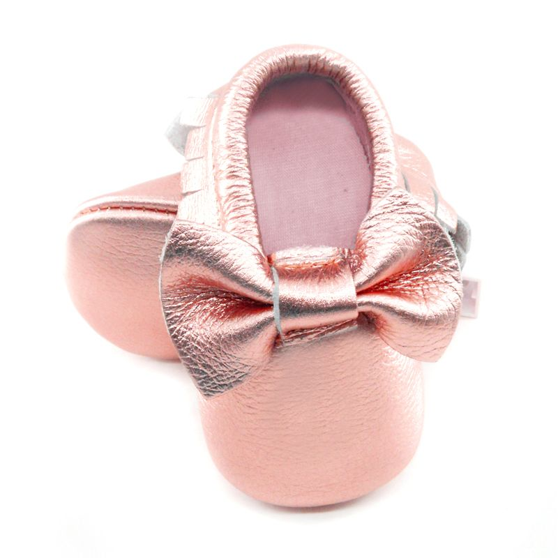 2019 New Shine Pink Genuine Leather Baby moccasins bow First Walkers Soft Rose gold Baby girl shoes infant Fringe boys Shoes