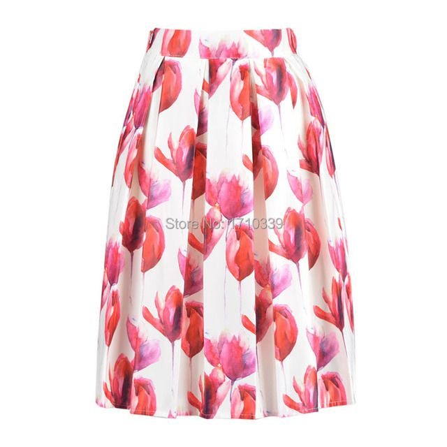 DayLook Women High Waist Tulip Print Skirt Floral Pleats Skater Ball Gown Knee Length Vintage A-Line Skirts 4 Colors