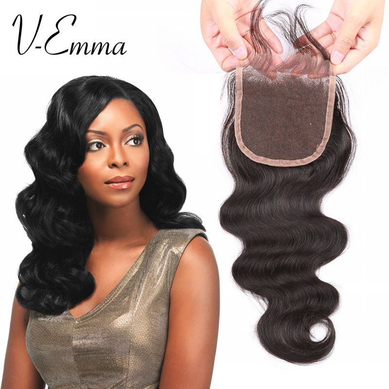 Free Shipping 7A Brazilian Bleached Knots Lace Closure 4*4 Human Hair Virgin Brazilian Body Wave Closure Body Lace Closures
