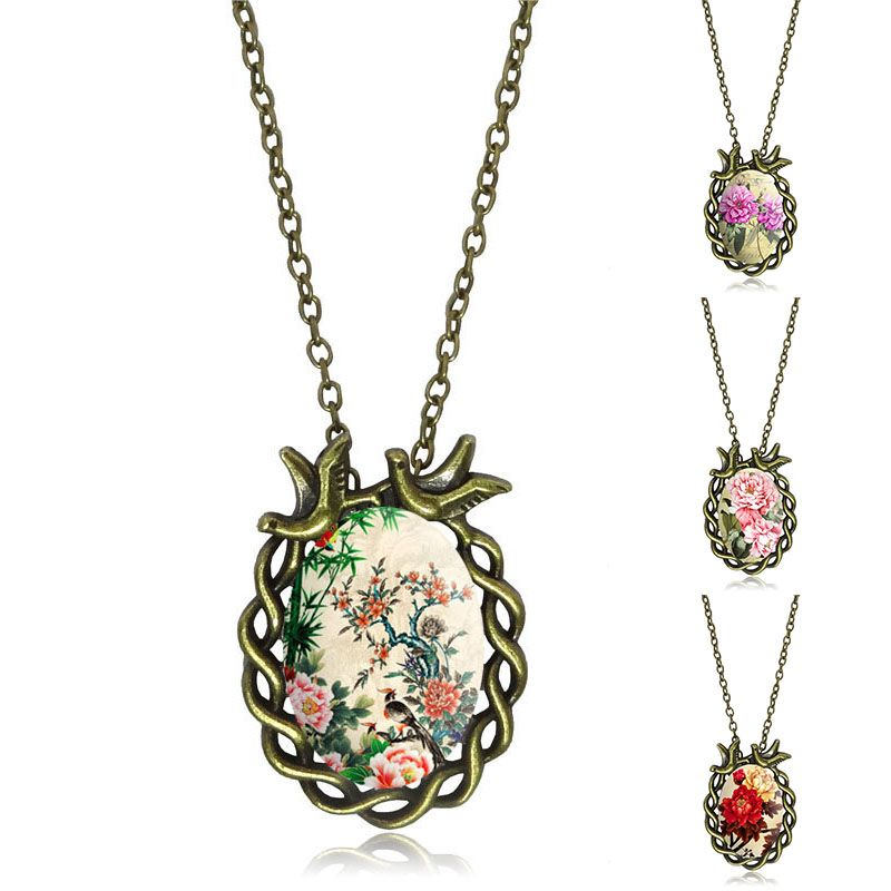 Fashion Rose Flower Pendant Necklace Glass Cabochon Vintage Bronze Bird Accessories Statement chain Necklace Women Jewelry
