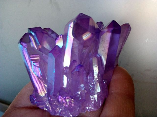 RARE Rainbow Purple FLAME AURA Quartz Crystal point cluster Healing 127.2G