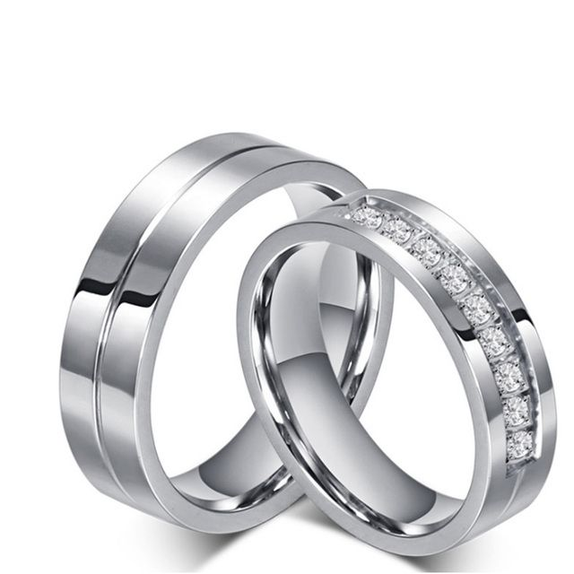 New Fashion Rhinestone Rings Eternity Steel Rings for Men and Women Wedding Forever Love Ring Couple For engagement jewelry