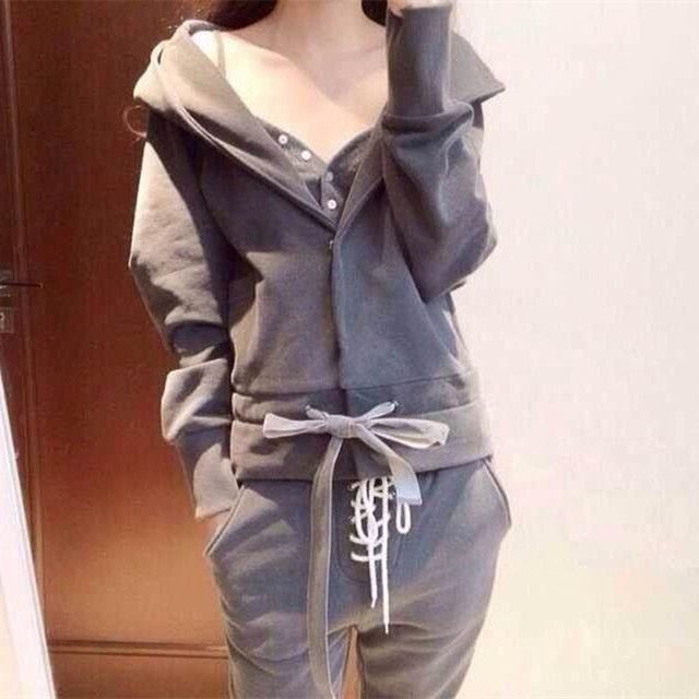 Autumn Winter Women Cotton Tracksuit 3 Piece Set Clothing Solid Sportwear Suit Woman Irregular Hoodies Set Costumes Plus size
