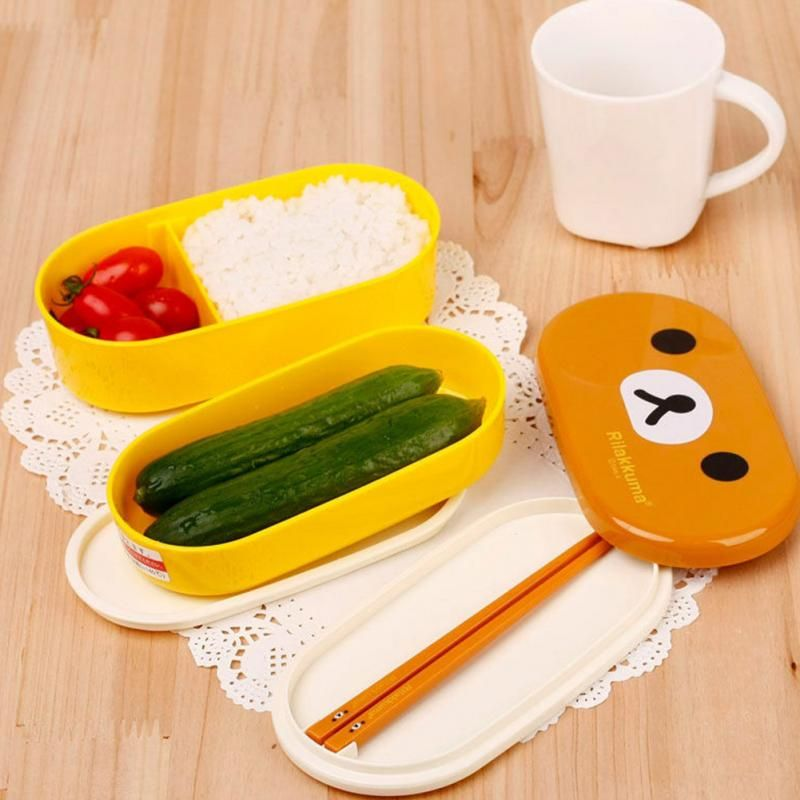 Free Shipping 2 Layer Cartoon Rilakkuma Lunchbox Bento Food Container  Japanese Style Plastic Lunchbox