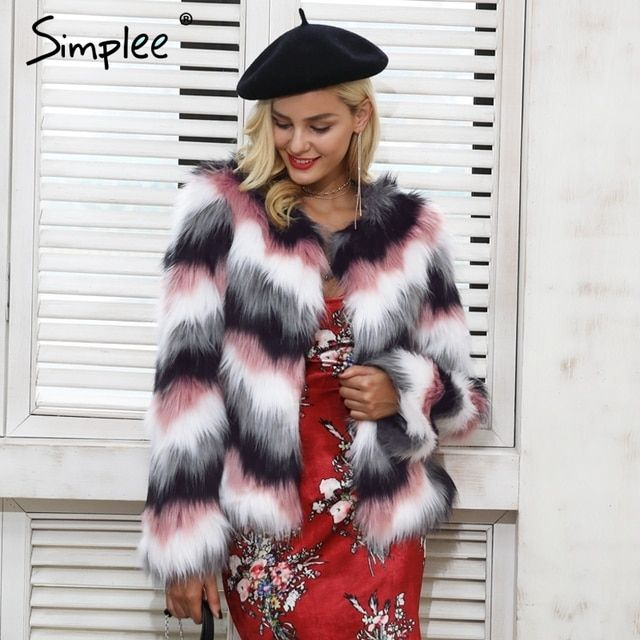 Simplee Pink color mixing faux fur coat women Fluffy warm female outerwear 2018 winter coat jacket long sleeve hairy overcoat