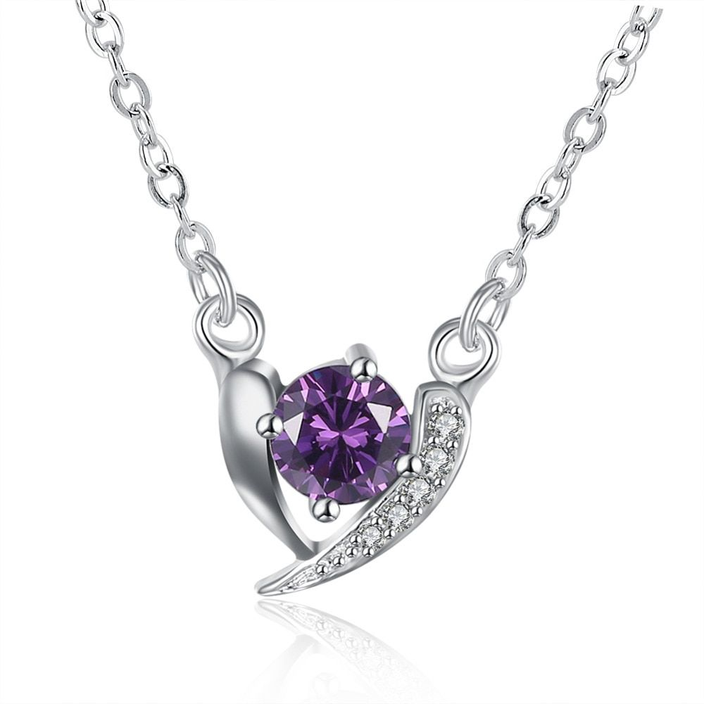 ERLUER Fashion White Purple Crystal Delicate Girl Clavicle Bff Necklace Trendy Silver Color Heart Love necklaces & Pendant Women