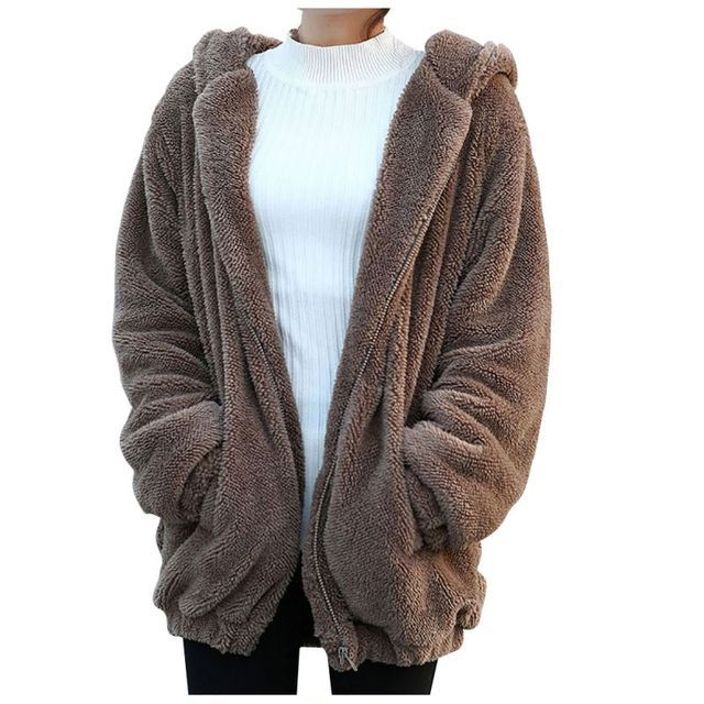 2017 Women Girls Winter Loose Cute Bear Ear Hoodie Hooded Jacket Warm Outerwear Coat