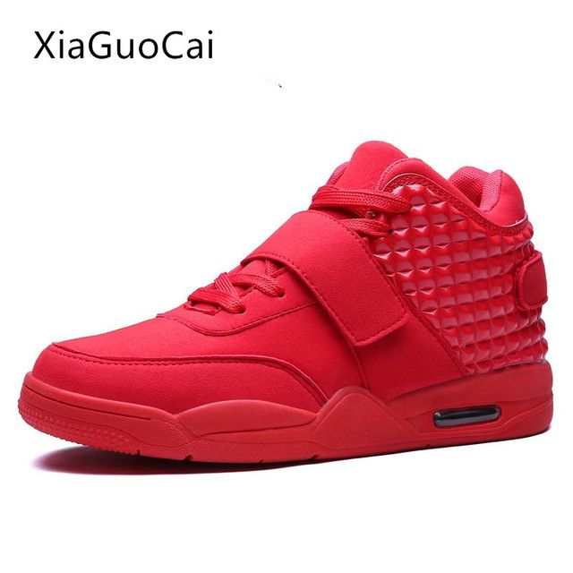 High Quality Red Men Casual Shoes High Top Fashion Breathable Men Trainers Blue Brand Casual Shoes Mens X925 35
