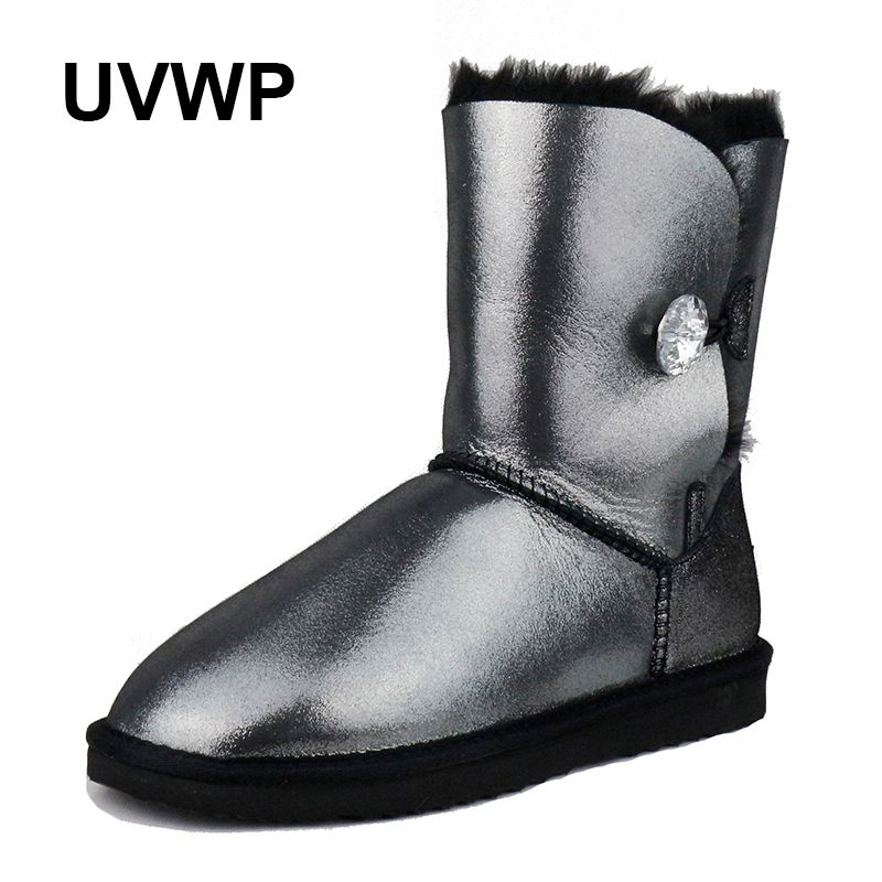 UVWP Fashion Genuine Sheepskin Leather Snow Boots Natural Fur Winter Boots Women Warm 100% Wool Boots Women Boots