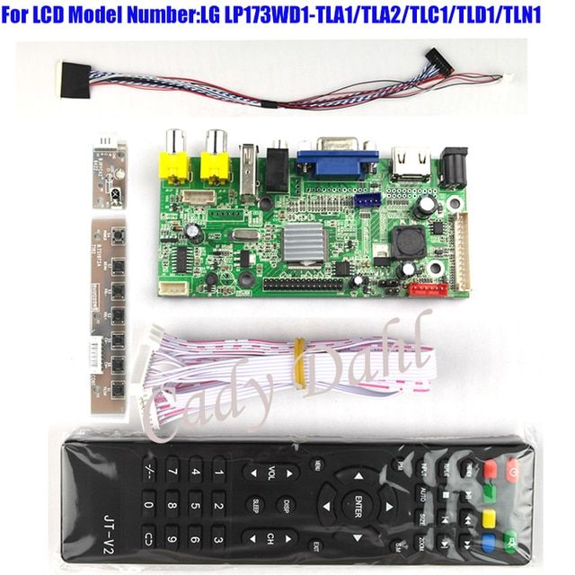 HDMI VGA USB AV Audio Video Controller Board + 40p Lvds Cable for LP173WD1 - TLA1/TLA2/TLC1/TLD1 1600x900 2ch 6 bit LCD Display