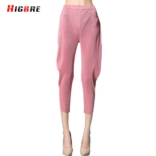 New Summer Elastic Waist Women Loose Harlan Pants Pleated Big Size Mid Waist Cropped Trousers/Pants Capris Pantalon Femme Large