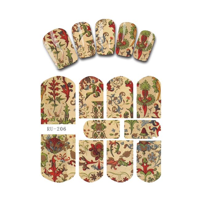 Nail Sticker WATER DECAL FLORAL RUSSIA STYLE EXOTIC ORNAMENTATION BLACK ANCIENT DECORATION PATTERN RU206-211