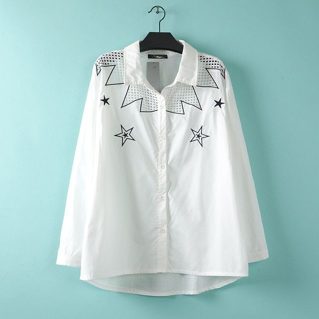 2017 New women Plus Size five-pointed star pattern embroidered long-sleeved cotton shirt White shirt women C11 Size XL XXL XXXL