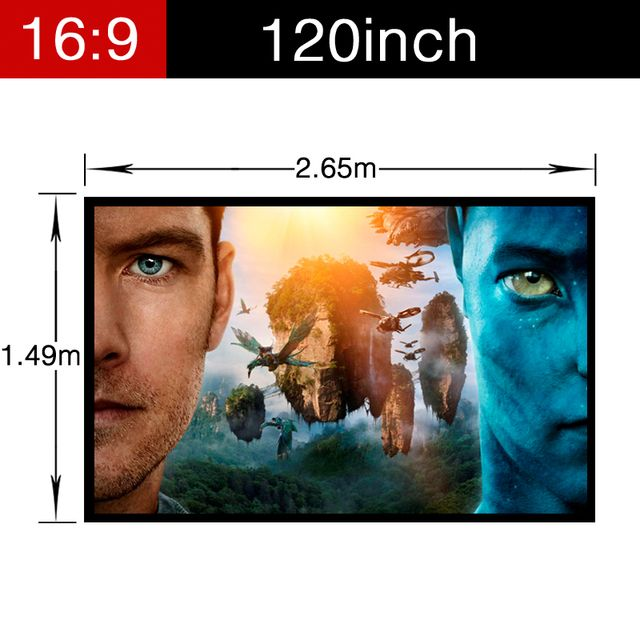Newest 120inch 16:9 PVC Soft Home Theater Matt white Projector Video Movie Screen with holes Portable folding Wall Mounted