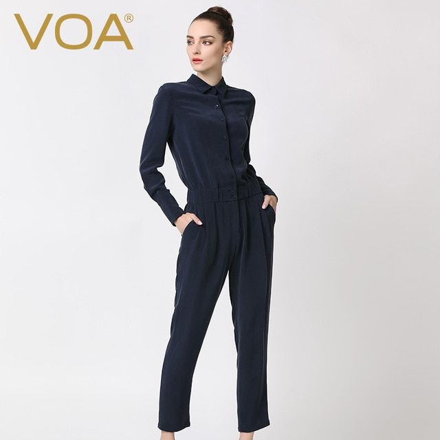 2016  navy blue heavy silk plain weave jumpsuit female fashion turn-down long sleeved full length jumpsuit autumn K5360 Europe