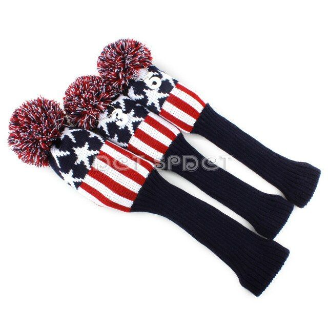 Blue&Red&White Star Kniting Head Covers Wool Pompom Golf Club Headcovers  for Driver Fairway 3 Wood  Free Shipping