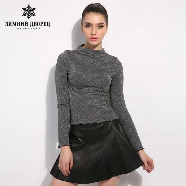 WINTER PALACE  autumn new leather skirt women skirts pleated short high Waist a-line skirt Above Knee, Mini