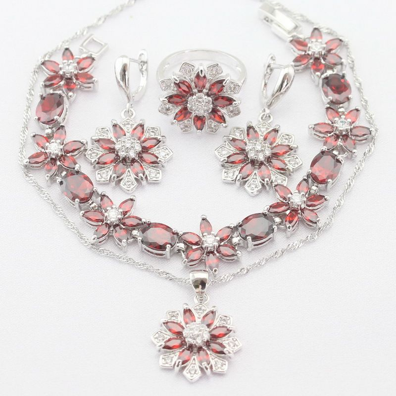Flower 4PCS Silver Color Women Jewelry Sets Necklace Pendant Earrings Rings bracelet Imitated Red Garnet White CZ Christmas Gift