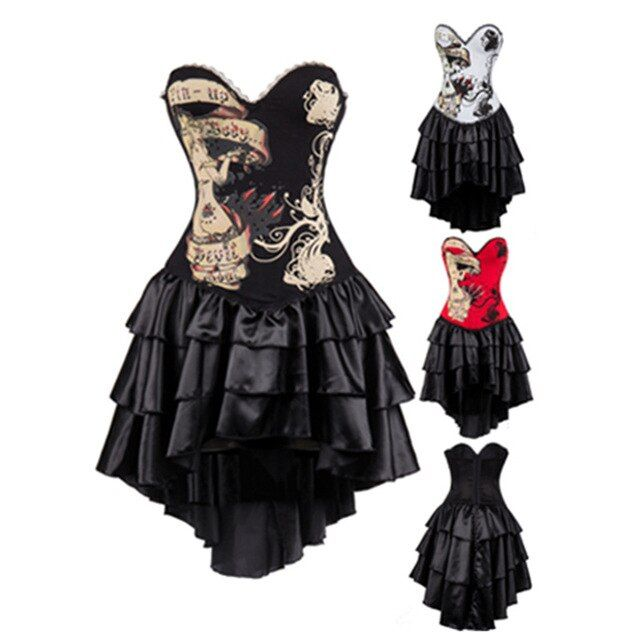 New Arrival Women Steampunk Corsets Dress Vintage Bustier Top Gothic Overbust Corset Dress Waist Corset Sexy Lace Waist Trainer