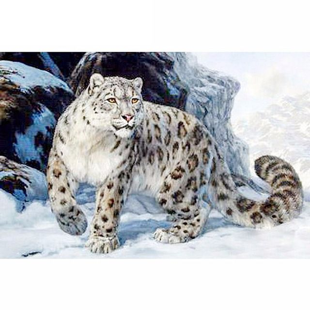 5D DIY Diamond Painting Leopard Cross Stitch Snow Leopard Mountains Needlework Home Decorative Full Square Diamond Embroidery