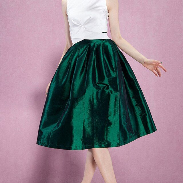 75cm Street  Fashion Spring Super Puffy Midi Skirts High Waist Shine Fabric Pleated Middle Skirt Ball Bubble Skirts For Female