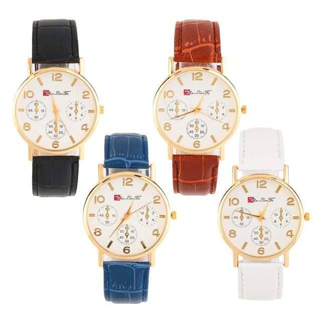 Women Men Round Golden Case White Dial Faux Leather Band Wrist Watch Time With White/Black/Blue/Brown Color