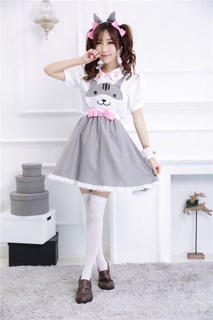 Neko Atsume cos Cute cat maid outfit Lolita dress black gray yellow color sweet Mori Girl Style summer dress