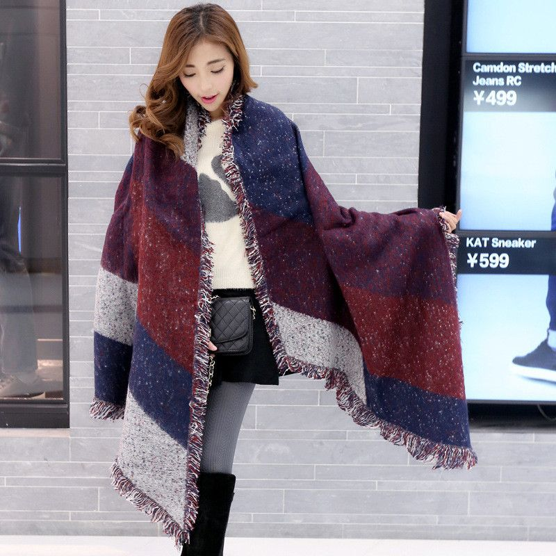 Women Wool Scarf Poncho Thicken Wrap Blanket Scarf 2019 Autumn Winter Warm Cashmere Pashmina Femininas Shawl Scarves Cape Mujer