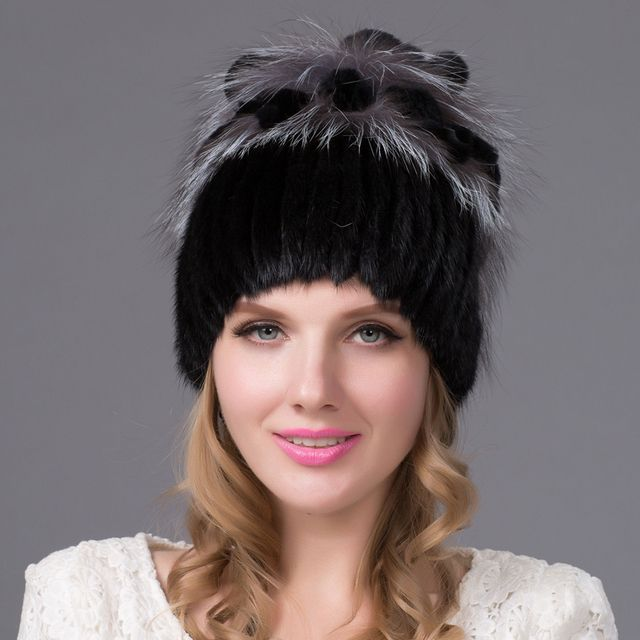 Warm winter fur hat mink hat with real fox fur ball knitted Skullies2016 copious female fur headdress beanie hat