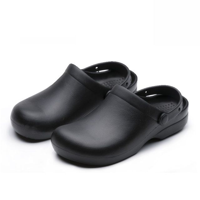 WAKO9011 Men Chef Shoes Black Non-slip Work Shoes Super Anti-slip Kitchen Sandals for Male Cook Sandals with Strap Size 39-44