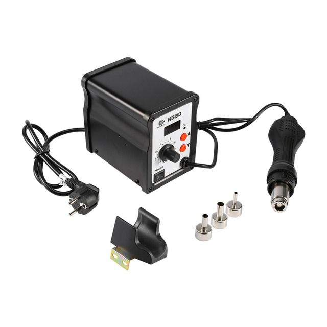 700W 858D ESD Soldering Station LED Digital BGA Rework Solder Station Hot Air Gun With 3 Nozzles Handle Stand