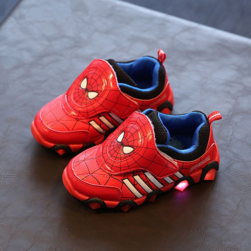 Children Shoes Led Boys Sneakers Autumn Winter Spiderman Flasher Fashion Sports Kids Shoes Led Sport Light Boys Shoes Size 26-31