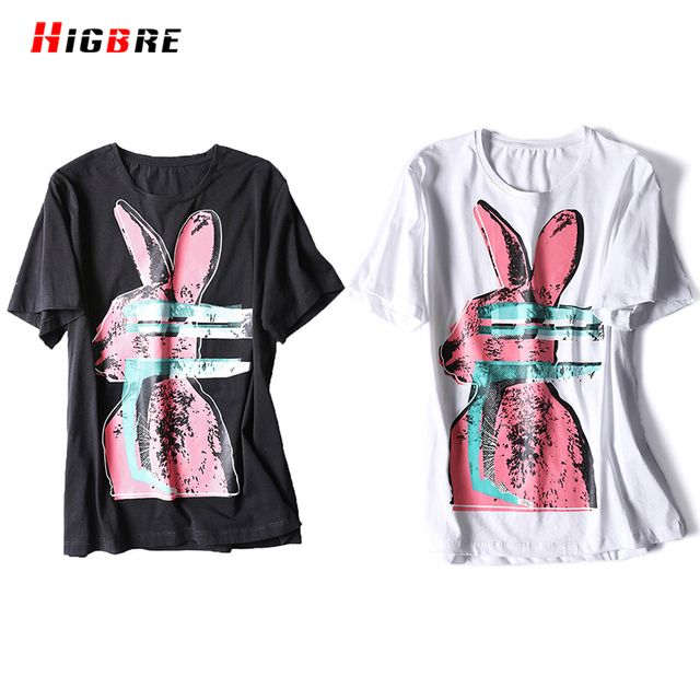 HIGBRE Summer T Shirt Fashion Print Tshirts For Women 2017 Short Sleeve White Black Cute Korean Graphic Tees Women Tshirt Tops