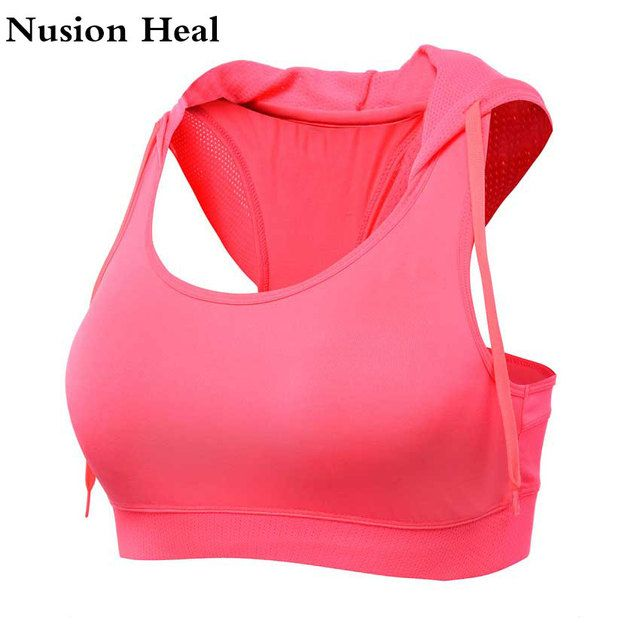 NUSION HEAL Sexy Shockproof Women Sports Bra Top Fitness Padded Quick Dry Seamless Underwear Push Up Yoga Tank Top Running Shirt