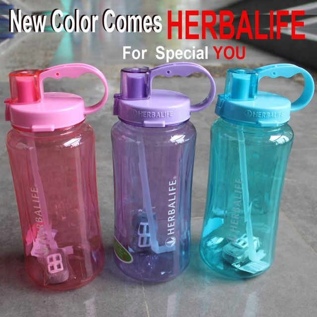 5 Color 1000/2000ml handgrip straw type sports food grade plastic adults water bottle  Herbalife shake bottle