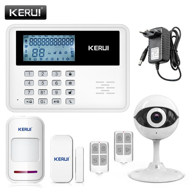 KERUI 433MHZ Large LCD Display GSM Alarm App Control Home Russian/English Voice Prompt Security Burglar Alarm System