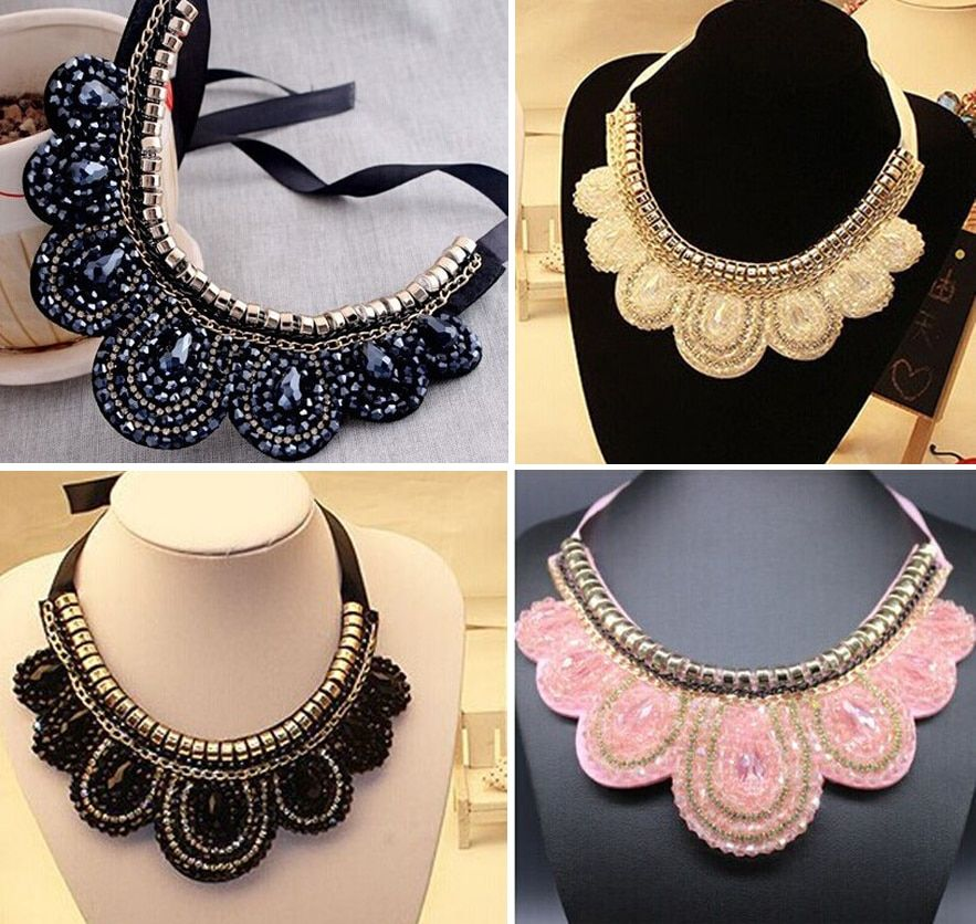 Black exaggerated austria crystal  chunky chocker ladies false collar big slipknot  rope necklace/collier femme/maxi colar/bijou