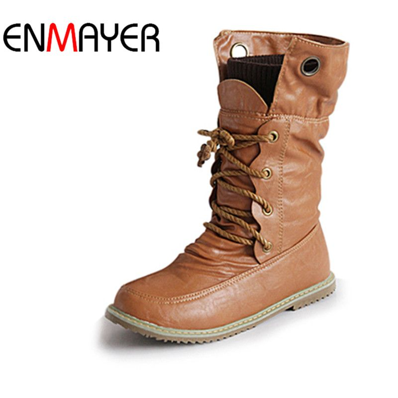 ENMAYER Fashion Motorcycle   Boots for Women Winter Snow Boots PU Leather Flats Boots Shoes Plus Size 43 Shoes Women Boots