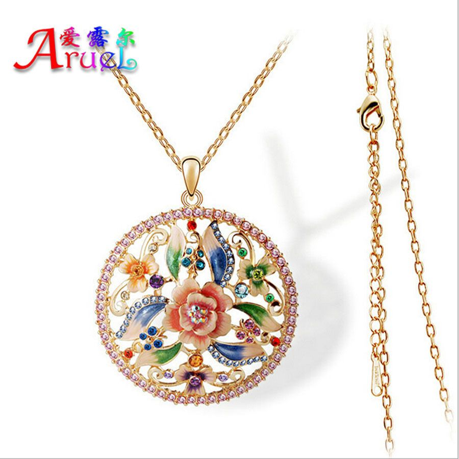 fashion enamel necklaces boho Austrian crystal jewelry women rose gold big maxi colar vintage flower pendant girls long necklace