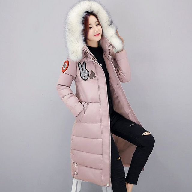 Fashion Winter women Warm down jackets coat faux fur Long Hooded cotton Jacket coat Female Warm Thick Wadded down Coat lage size