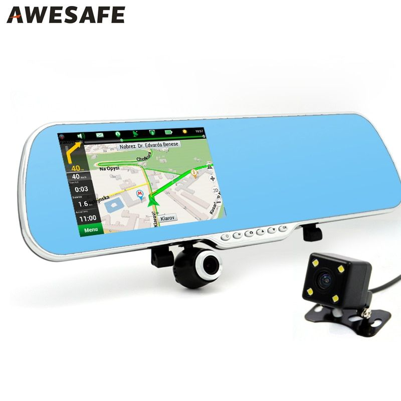"5"" IPS Car DVR Camera Video Recorder Rearview mirror Android 4.4 GPS Navigation Dual Lens mirror automobile DVRs"